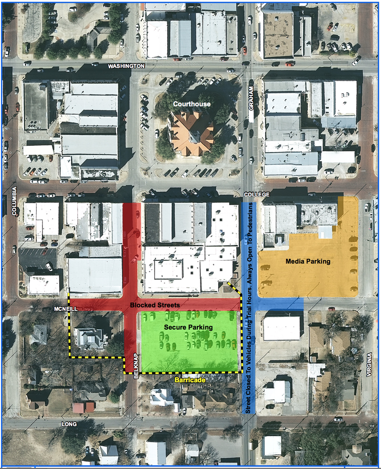 Map released by Sgt. Sha King with the Stephenville PD of road closures around the Erath County Courthouse Annex during the weeks of the Routh trial.