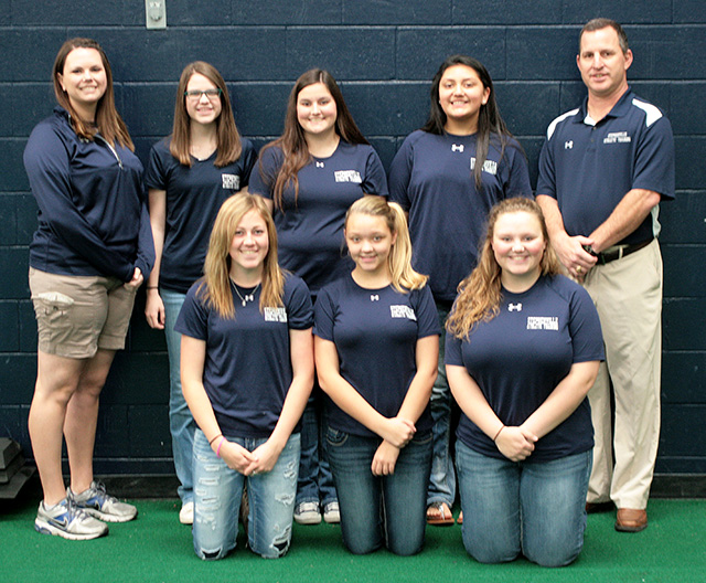 Stephenville ISD head athletic trainer and assistant athletic director Mike Carroll and assistant athletic trainer Kendall Goldberg lead a team of student athletic trainers that includes junior Morgan Prescott, sophomores Morgan Kinsey, Morgan Pinkston and Payton Ferguson and freshmen Haylee Luck, Mattie Jo Hardcastle and Ashlee Babkowski. || Photo by BRAD KEITH/TheFlashToday.com