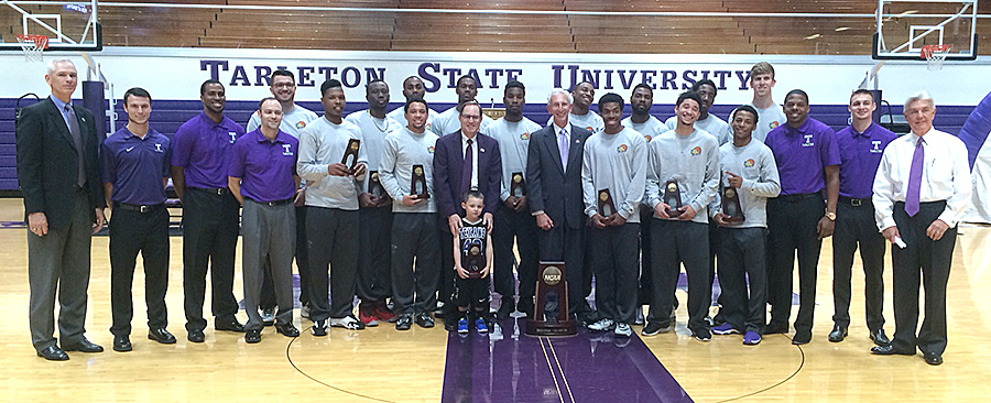 The 2014-15 Tarleton State Texans reached the final four of 319 teams in NCAA Division II, setting a school wins record (31) along the way. They are pictured along with coaches, Tarleton State President Dr. F. Dominic Dottavio, United States Congressman Roger Williams and Stephenville Mayor Kenny Weldon. || Photo by BRAD KEITH/TheFlashToday.com