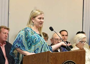 President of the Stephenville Chamber of Commerce July Danley presented the chamber's annual report.