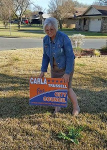 Carla Trussell has been hands on in conducting her campaign for Place 2 on the Stephenville City Council. Photo courtesy Morgan Rogers Facebook page