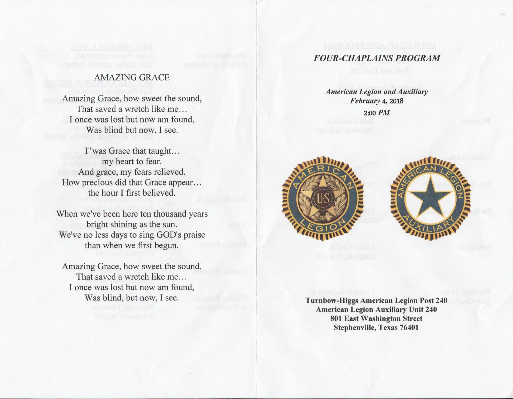 Four Chaplains Program 1 Program cover