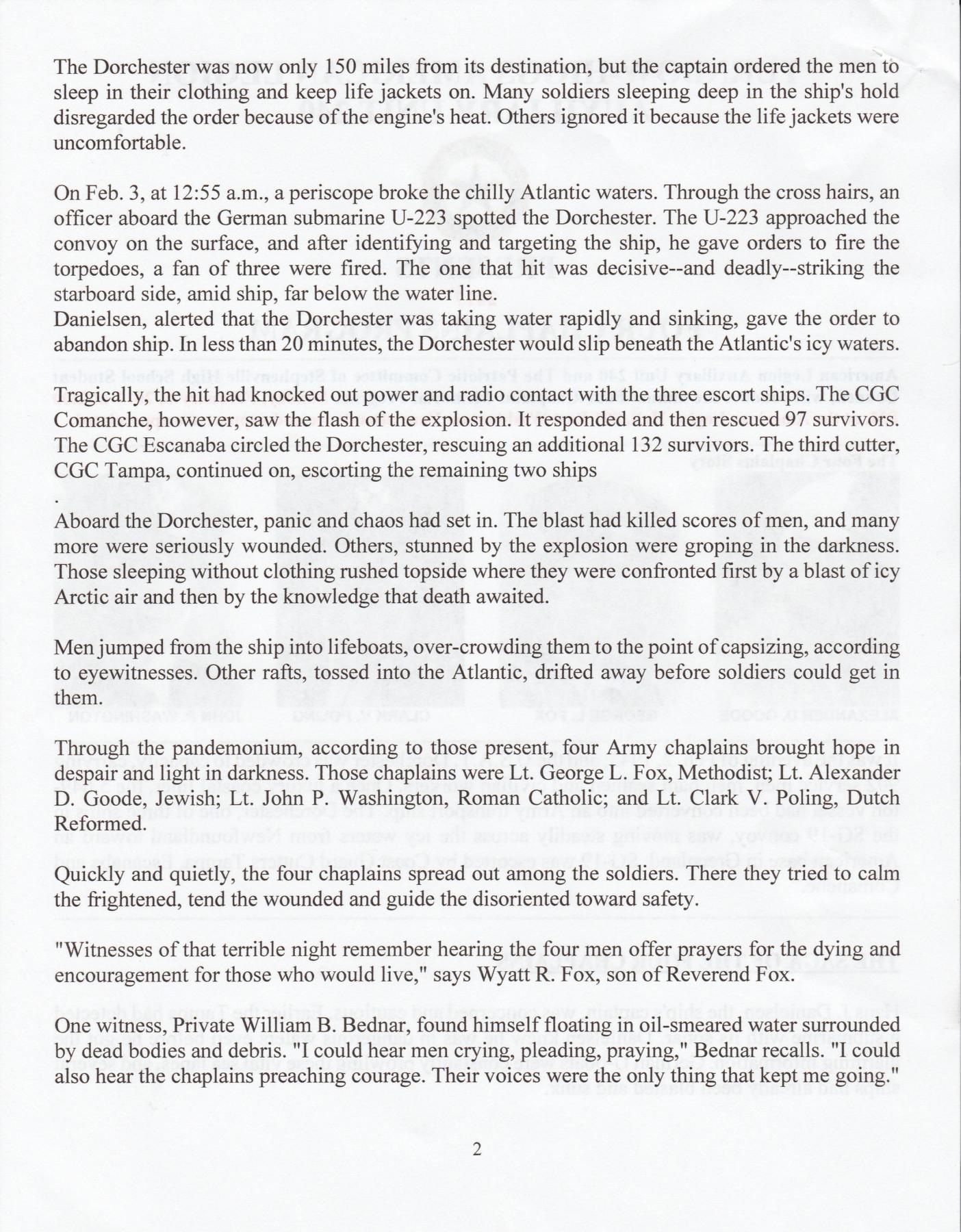 Four Chaplains Program 2 Four Chaplains Story Page 2