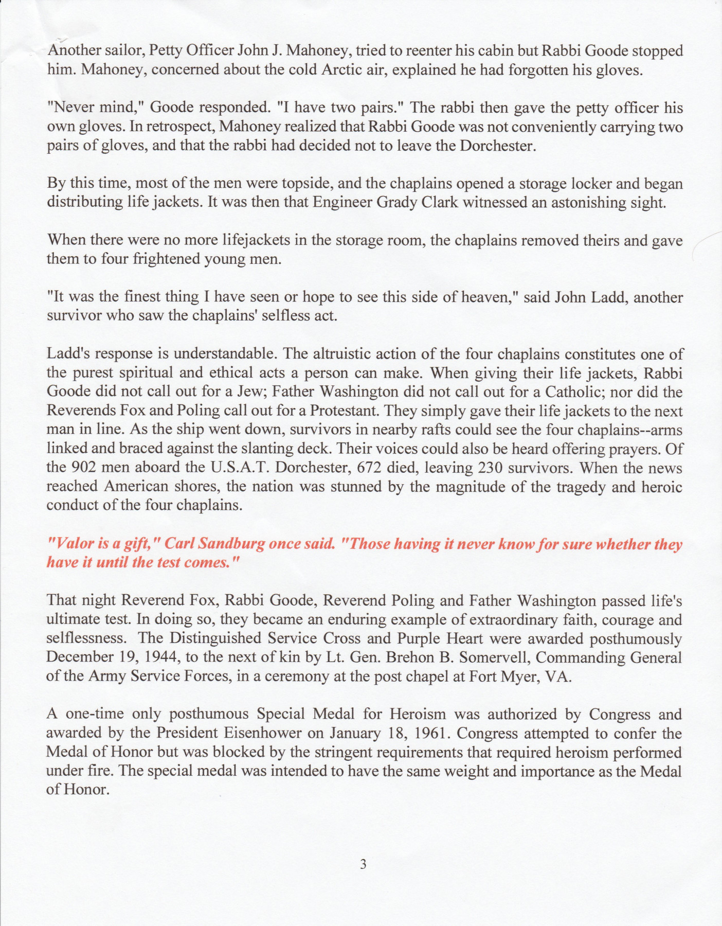Four Chaplains Program 2 Four Chaplains Story Page 3