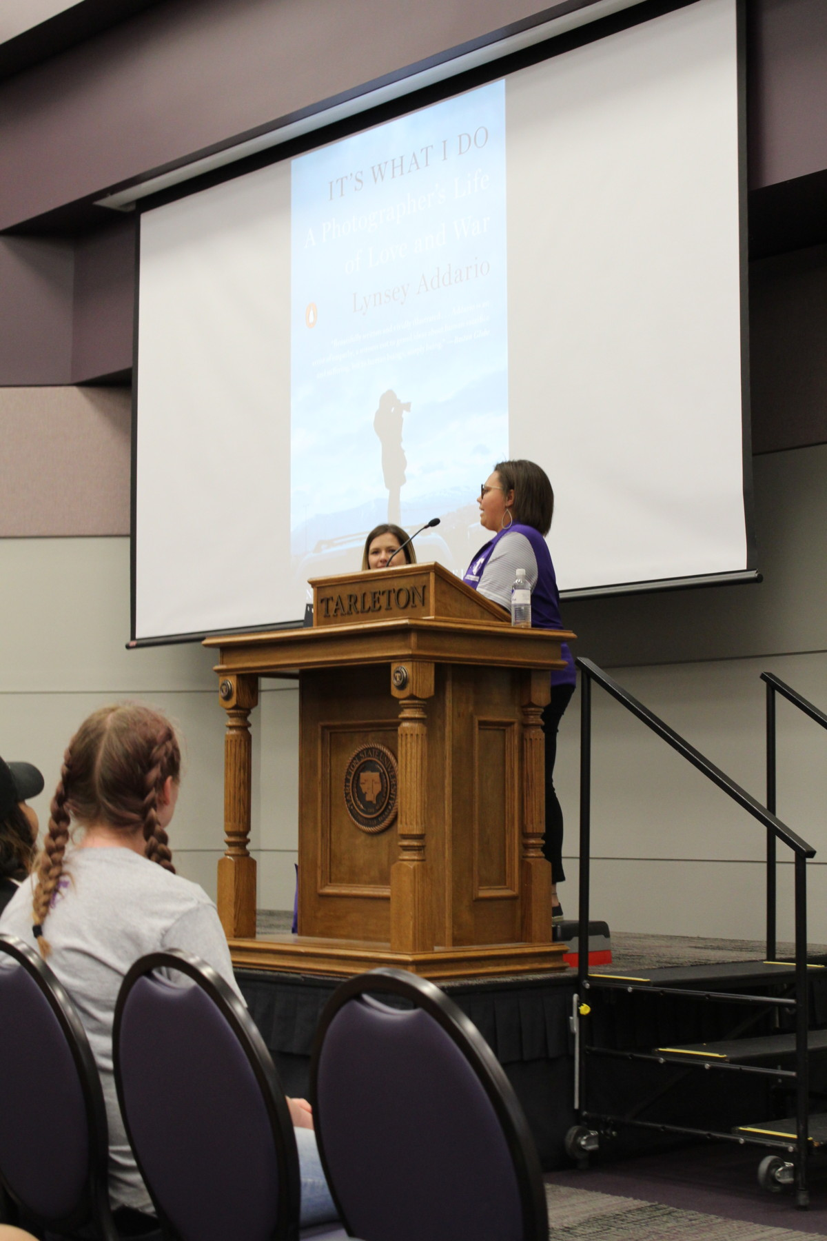Madison Minor welcomes students, faculty and staff who attended Addario's talk.